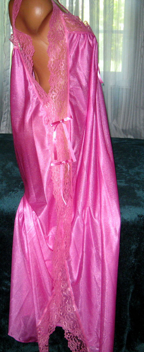 Rose Pink Toga Style Lace Open Tie Look Side Long Nightgown 1X Plus Size