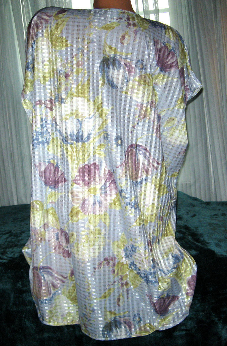 "Blue Floral Sleepshirt Oversized S M L Bust 50"" 52"" 54"" Silver Threads Lingerie"