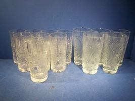 LOT OF 13 CLEAR PRESSED & ETCHED WATER DRINK GLASSES - 2 SIZES - LOT #1 - $17.99