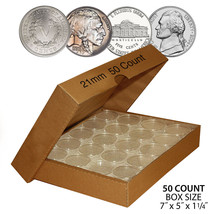 50 NICKEL Direct-Fit Airtight 21mm Coin Capsule Holder NICKELS (QTY: 50)... - $16.95