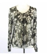 TALBOTS Size 14 Black Floral Gathered Silk Blouse Shirt - $19.98