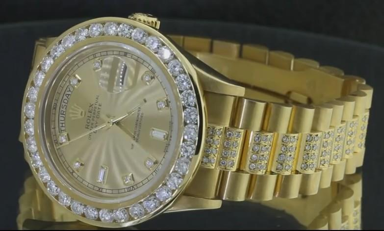 15 carat iced out diamond presidential rolex watch yellow gold     DCW50073