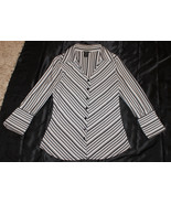 ANXIETY BLACK WHITE GRAY STRIPE FITTED BLOUSE TOP BUTTON SHIRT CAREER  M... - $9.99