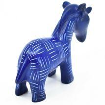 Vaneal Group Hand Carved Kisii Soapstone Dark Blue Unicorn Figurine Made Kenya image 4