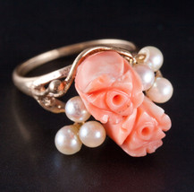 Vintage 1930's 14k Yellow Gold Coral & Pearl Floral Flower Style Ring 4.4g - $600.00
