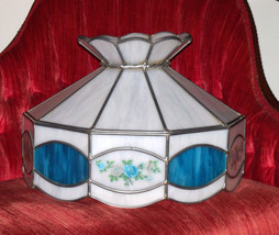 Vintage White Slag Glass Lamp Shade with Blue Accents Huge - $60.76