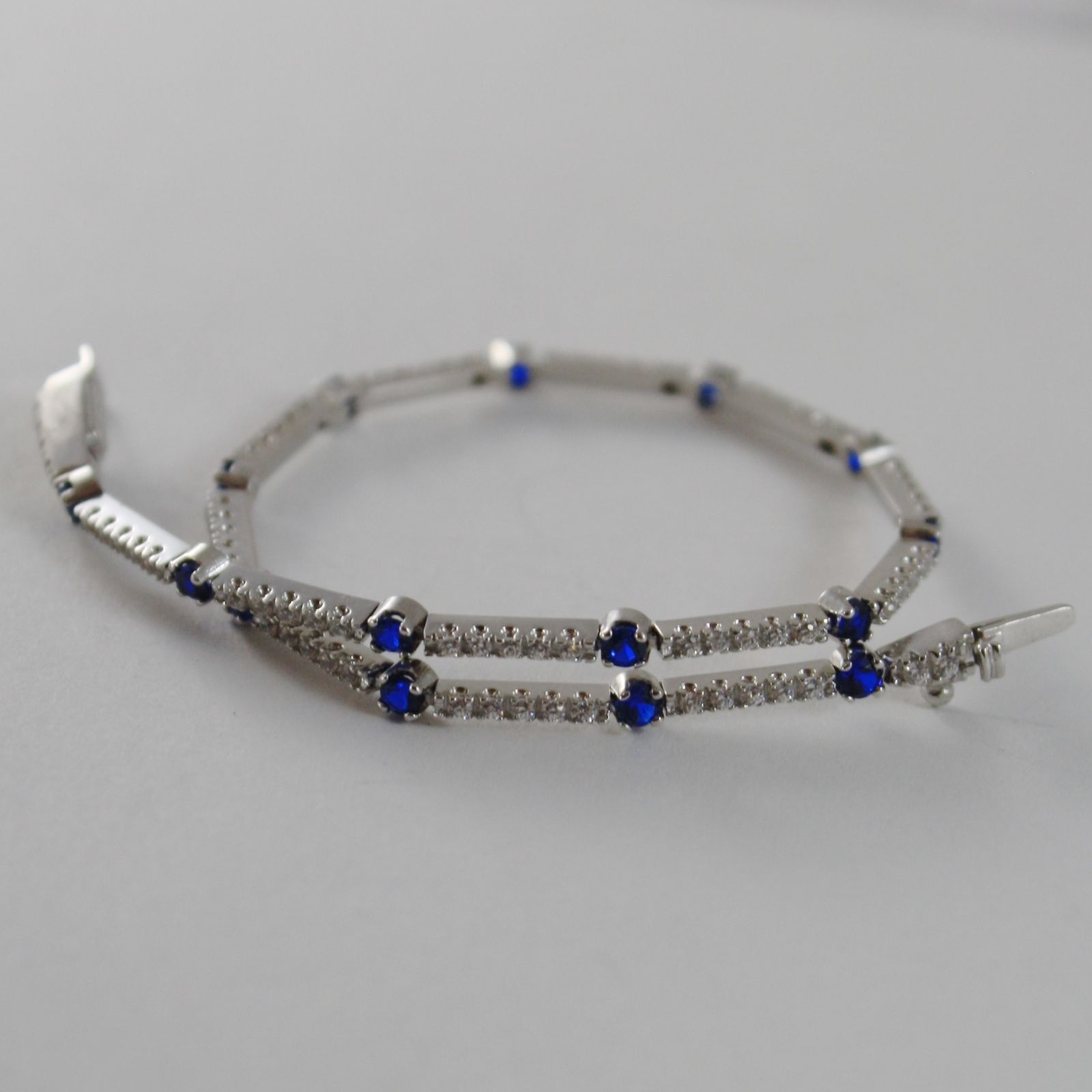 SOLID 18K WHITE GOLD TENNIS BRACELET WITH WHITE AND BLUE ZIRCONIA, MADE IN ITALY
