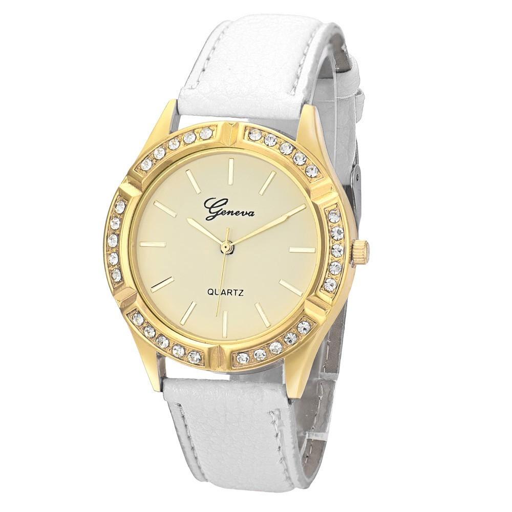 Geneva fashion dress watches women casual diamond pu leather quartz wrist watch wristwatches for Women casual watches