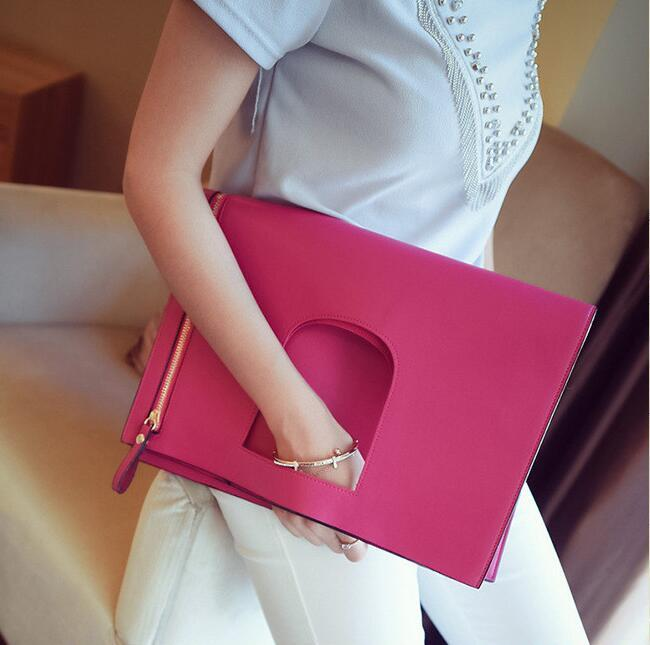 the new high quality pu leather women designer brand clutch folding envelope large capacity bag