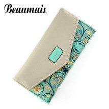 New Envelope Women Wallet Hit Color 3 Fold Flowers Printing PU Leather W... - $23.17
