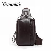 Black Crossbody Bags Soft PU Leather Back Pack Chest Bag Men Sport Shoul... - $59.87