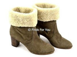 J Crew Women's Collection Lux Shearling Fold Over Kid Suede Boots Booties 7 M - $45.99