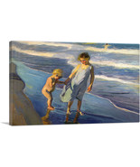 ARTCANVAS Valencia - Two Children on a Beach Canvas Art Print by Joaquin... - $43.99+