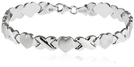 SilverLuxe Rhodium Plated 925 Sterling Silver Hugs And Kisses XOXO Bracelet - $126.48