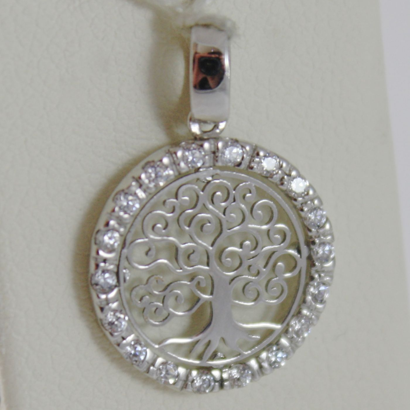 18K WHITE GOLD MINI TREE OF LIFE PENDANT, 0.55 INCHES, ZIRCONIA, MADE IN ITALY