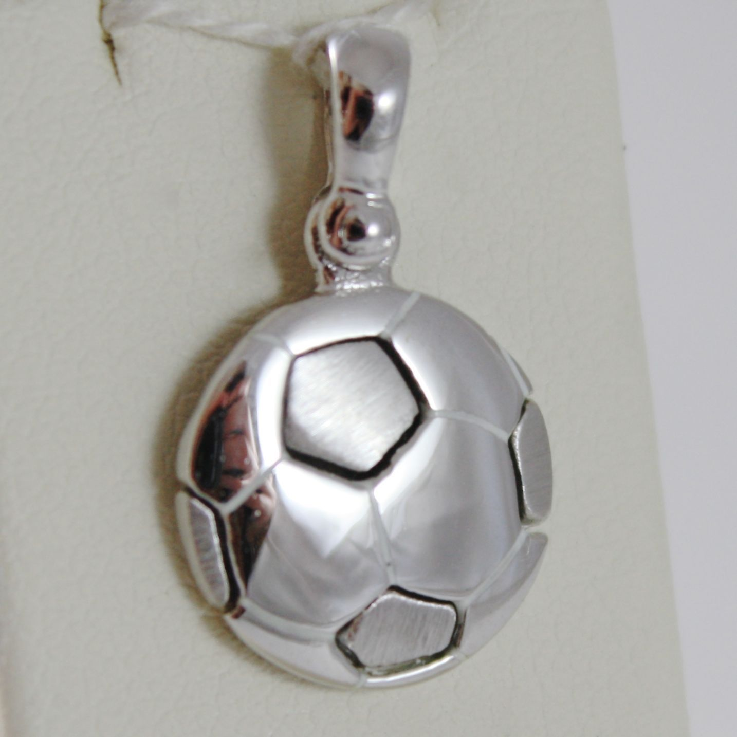 SOLID 18K WHITE GOLD SOCCER BALL PENDANT, SATIN CHARMS, FOOTBALL, MADE IN ITALY