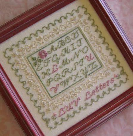 LUV Letters cross stitch chart Primrose Needleworks
