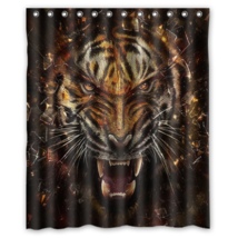 Tiger #12 Shower Curtain Waterproof Made From Polyest - $31.26+