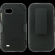 HTC Rezound after market black rubberized shell case / holster with belt... - $7.64