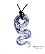 VENETIAURUM Blue MURANO Glass SNAKE Pendant NECKLACE - $68.99