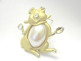 Figural Pig Out Pin Vintage Dont Pig Out Brooch - $11.39