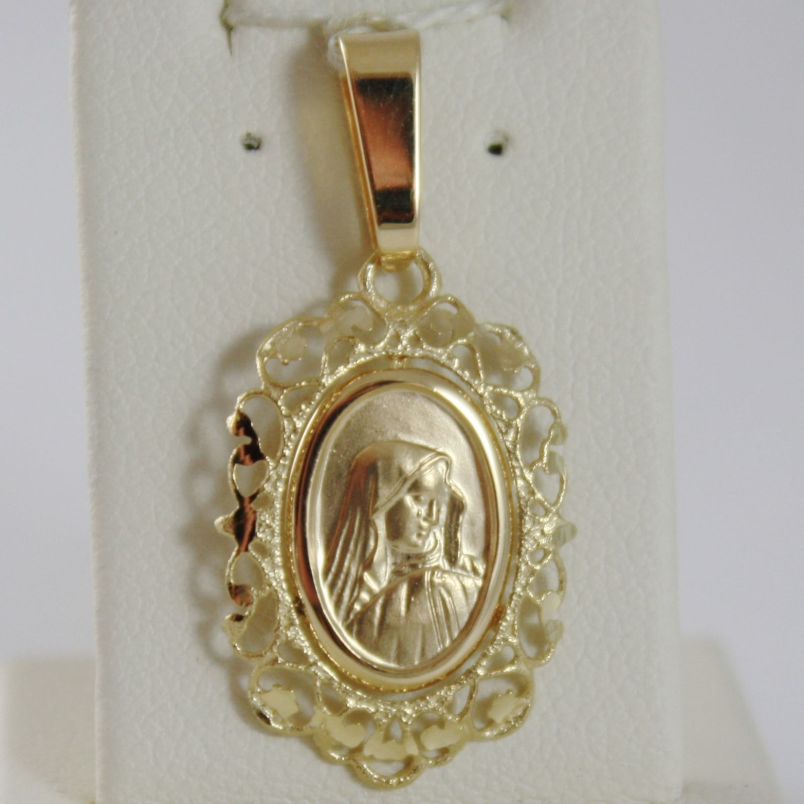 SOLID 18K YELLOW GOLD VIRGIN MARY MADONNA MEDAL WITH WORKED FRAME MADE IN ITALY