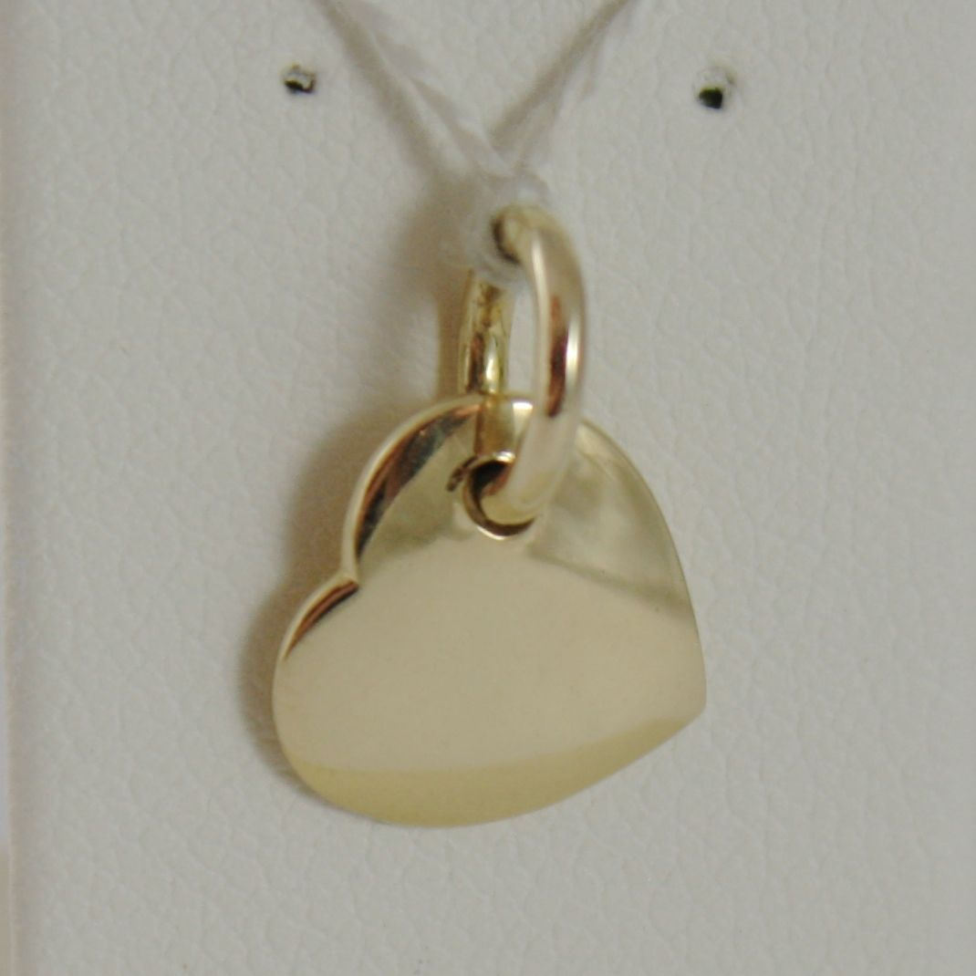 18K YELLOW GOLD HEART ENGRAVABLE CHARM PENDANT 11 MM FLAT SMOOTH MADE IN ITALY