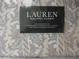 Ralph Lauren Golden Beige/Blue Paisley on Stripes Sheet Set Twin - $76.00