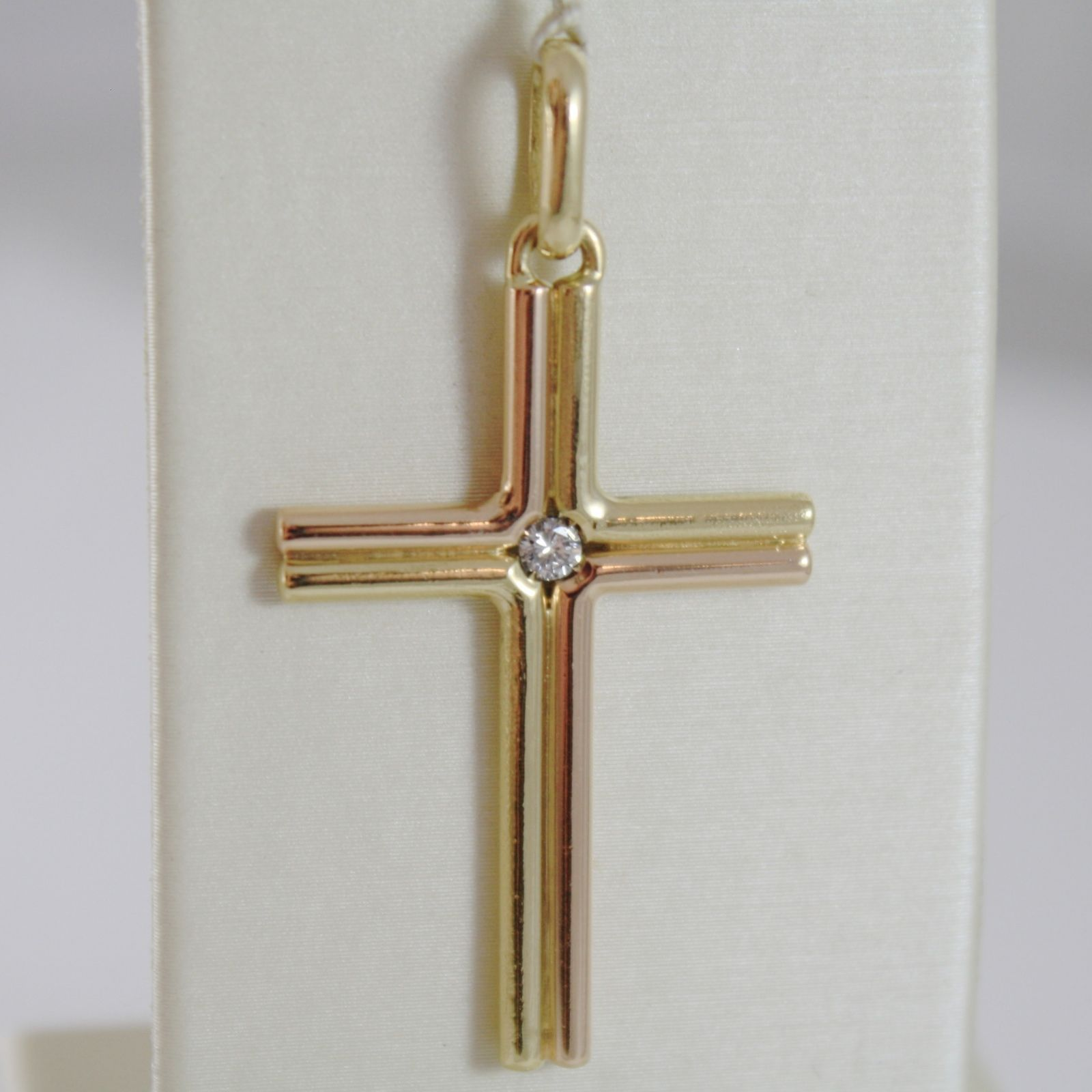 18K YELLOW ROSE GOLD CROSS DIAMOND SMOOTH STYLIZED DOUBLE TUBE, MADE IN ITALY
