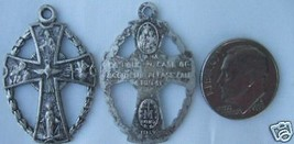 """Antique Vintage Catholic Medal Cutout 5 way multi-image """"Call a Priest"""" - $14.01"""
