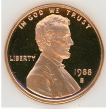 1988-S DCAM Proof Lincoln Penny #0633 - $4.99