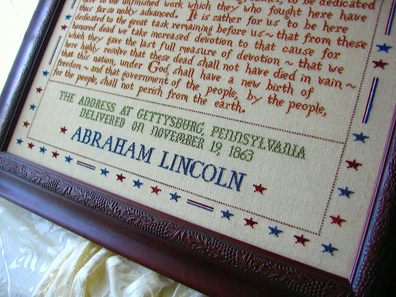 272 Words Gettysburg Address patriotic cross stitch chart Primrose Needleworks