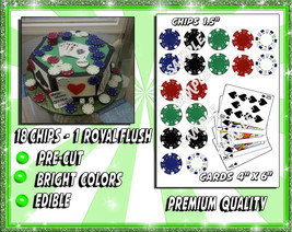 Edible Poker chips and royal flush for cakes, edible frosting sugar pape... - $14.00