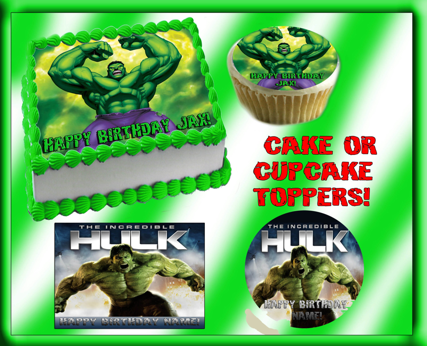 Swell Incredible Hulk Green Edible Cake Topper Frosting Sheet Birthday Party Personalised Birthday Cards Veneteletsinfo
