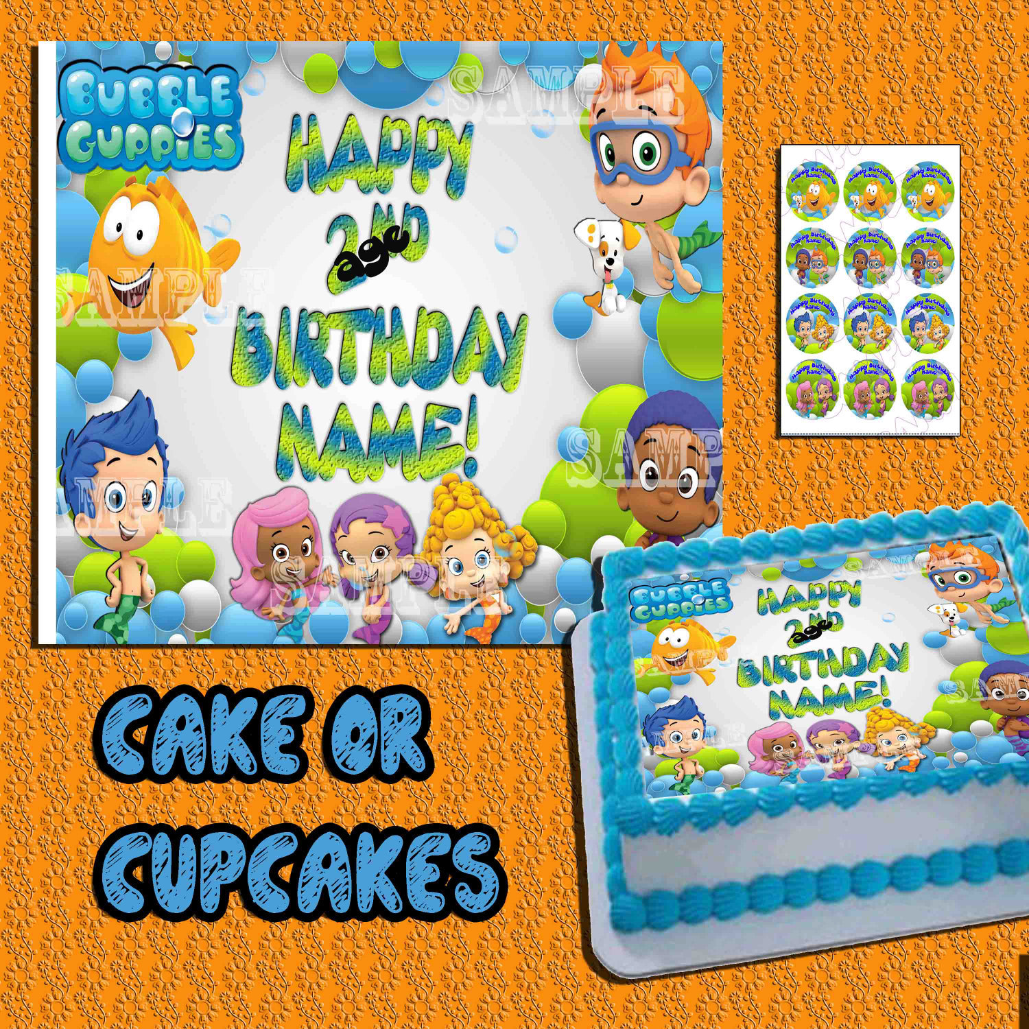 Admirable Bubble Guppies Edible Cake Toppers Birthday And 21 Similar Items Personalised Birthday Cards Veneteletsinfo