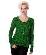 BANNED APPAREL GREEN LEOPARD CARDIGAN CBN301 vi... - $55.99