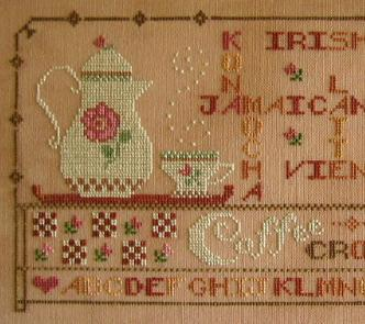 Coffee Crossword cross stitch chart Primrose Needleworks