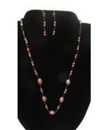 Handcrafted Necklace With Earrings and Coral and Black Beads and More & ... - $9.99
