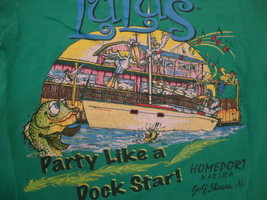 "Lucy Buffett's Lulu's ""Party Like a Dock Star"" Green T Shirt Mens Size S - £12.23 GBP"