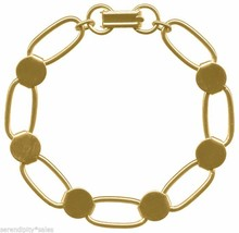 10 GOLD PLATED BRACELET Blanks ~ Oval Links with 6 Disks / Pads for Bead... - $36.62