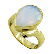 fine Fire Opal CZ Gold Plated White Ring india ... - $9.99