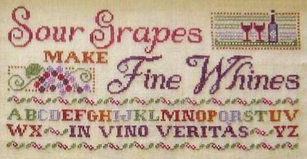 Sour Grapes Make Fine Whine cross stitch chart Primrose Needleworks