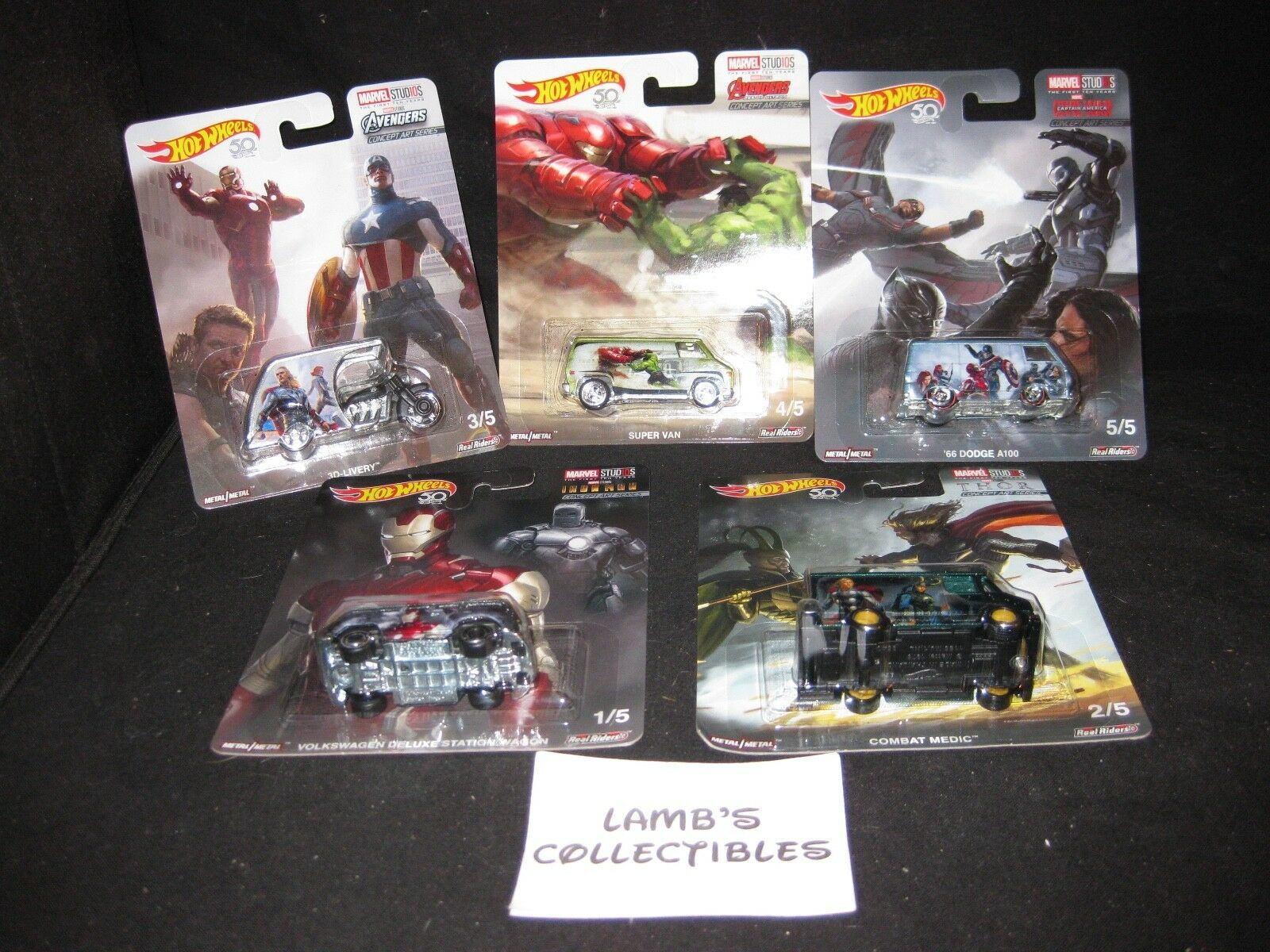 Primary image for Hot Wheels 50th Marvel Studios concept art series 5 car set Mattel die cast cars