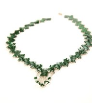 Handmade Vintage Jewelry Ethnic Marvelous Emerald Green White Silver Beads - $148.50