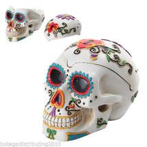Ashtray Dia de Los Muertos White  DOD Skull Head Sugar Colorful Trinket Box - $23.85