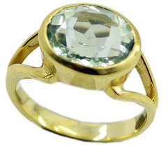 handsome Green Amethyst Gold Plated Green Ring ... - $9.99
