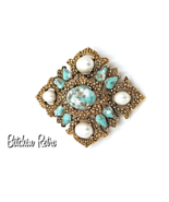 Sarah Coventry Vintage Brooch and Pendant Combo with Faux Turquoise - $21.00