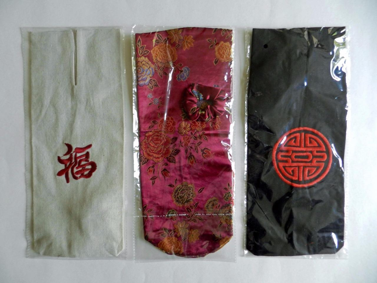 Asian-Design Wine/Bottle Bags/Sleeves x3 - New in Packaging! - $18.00