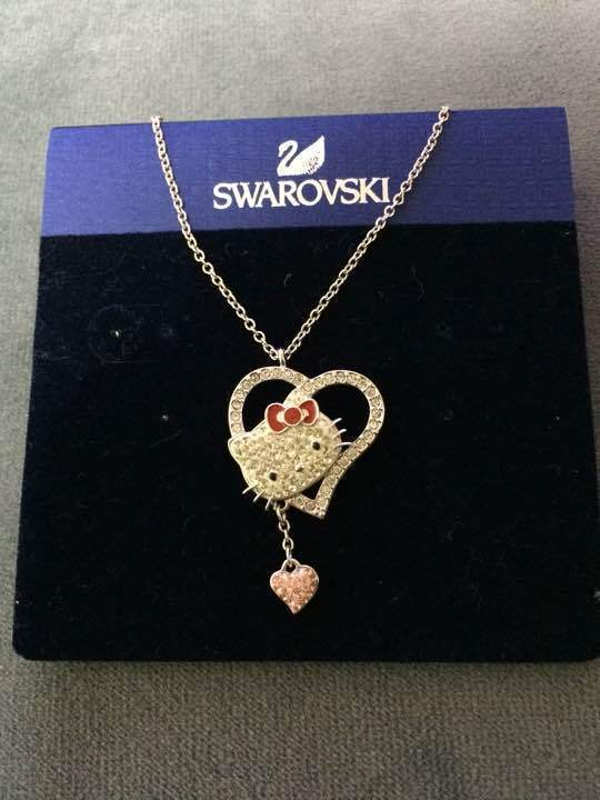 36dd0ef73 Swarovski x Hello Kitty Heart Pendant Necklace LIMITED EDITION From Japan  New