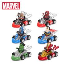 Marvel Toys 11cm Avengers Figure Kart Pull Back Car Spiderman Batman Sup... - $20.59